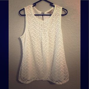 Banana Republic White Lace Career Top Large